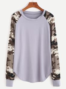 Contrast Raglan Sleeve Curved Hem Sweatshirt