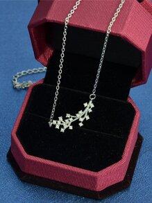 Silver Rhinestone Branch Pendant Necklace