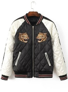 Black Tiger Embroidery Raglan Sleeve Quilted Zipper Jacket