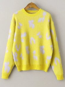 Yellow Leopard Print Ribbed Trim Sweater