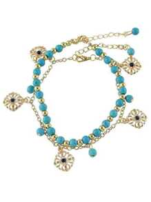 Bohemian Style Gold Color Blue Beads Chain Anklet Set