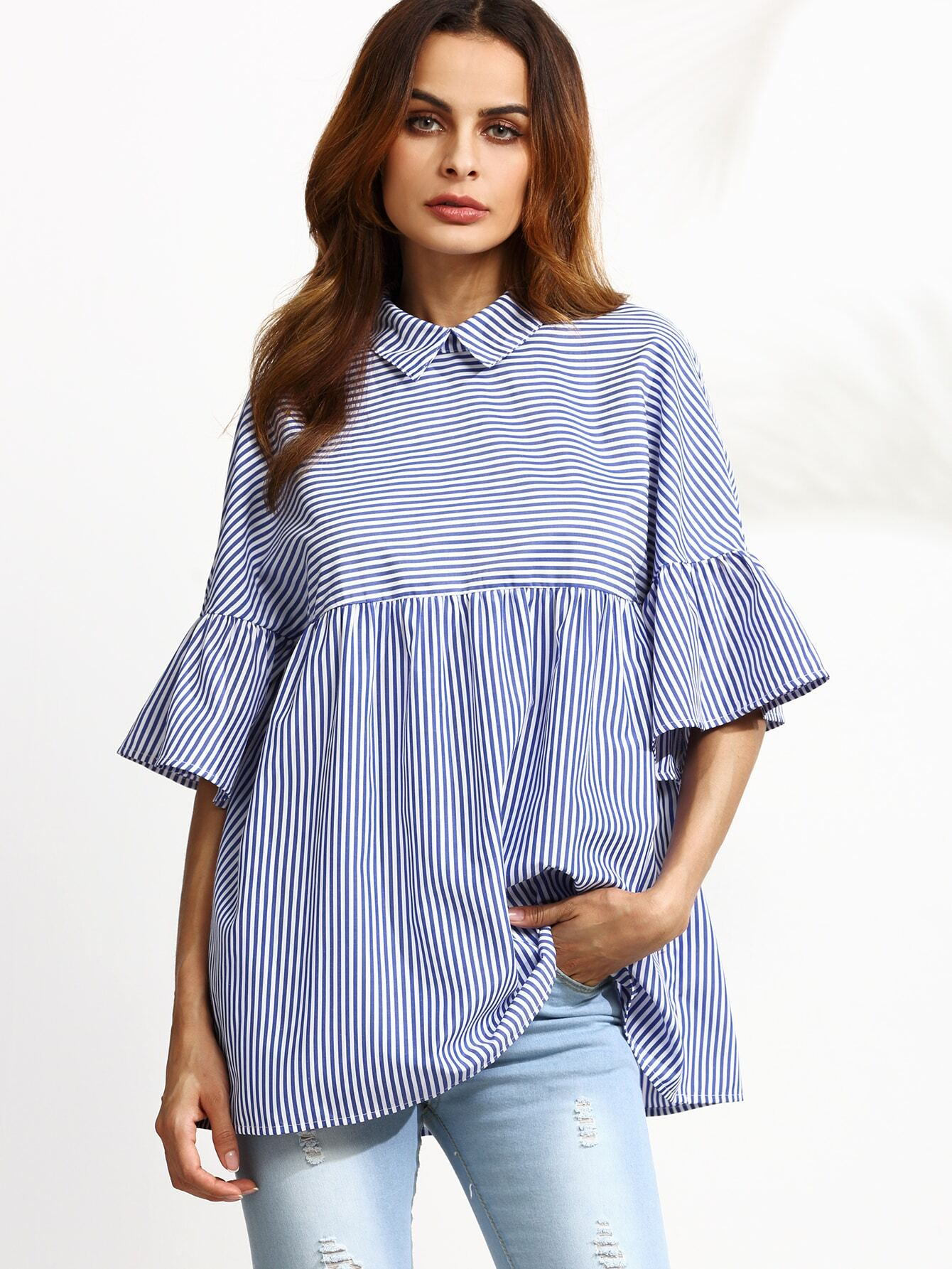 Blue Striped Ruffle Sleeve Babydoll Blouse EmmaCloth-Women Fast Fashion  Online - Blue Striped Ruffle Sleeve Babydoll Blouse EmmaCloth-Women Fast