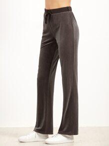 Brown Drawstring Waist Velvet Sweatpants