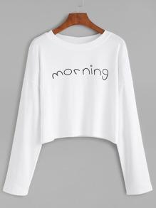 White Letter Print Drop Shoulder T-shirt