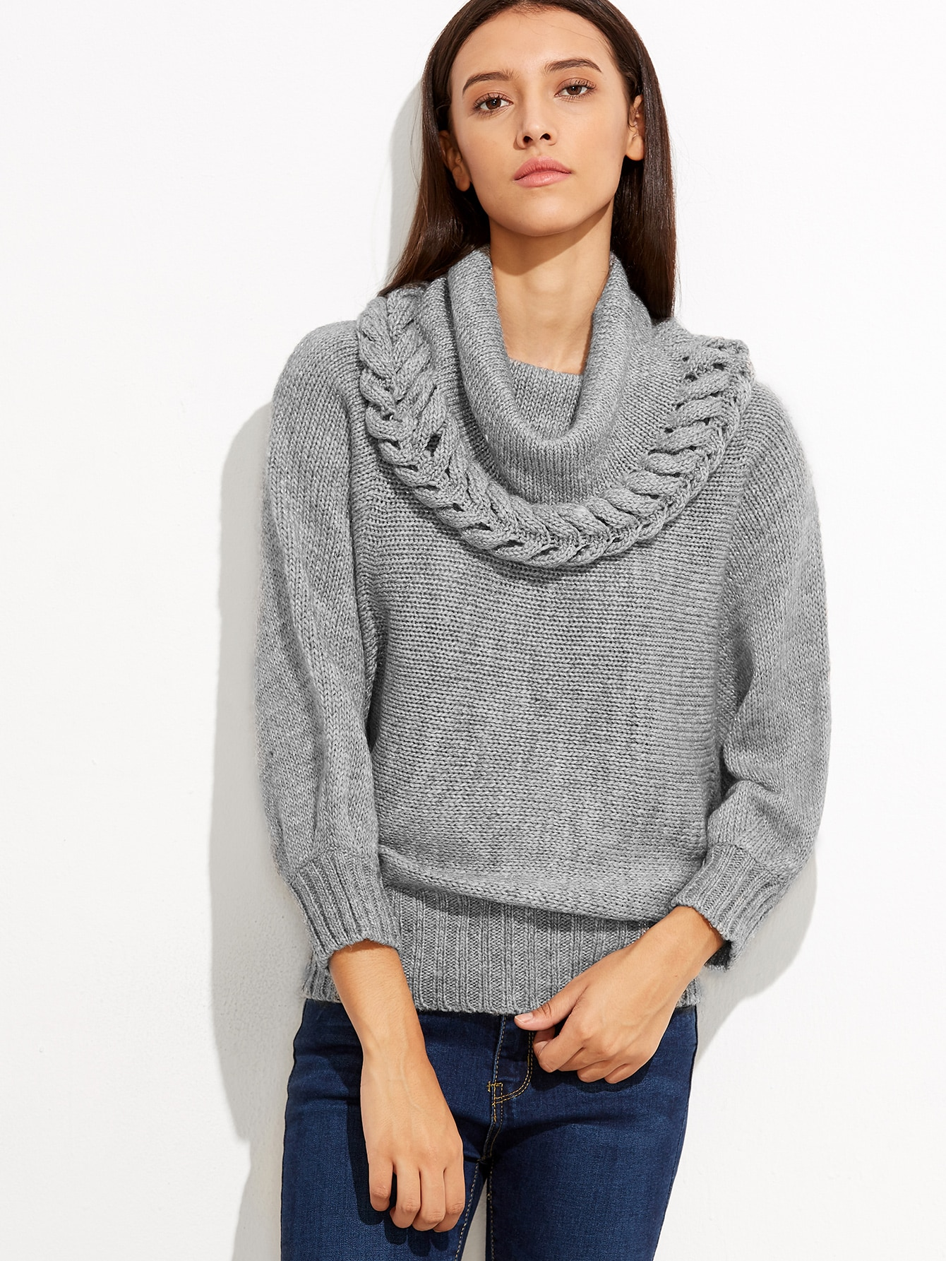Grey Cowl Neck Ribbed Trim Loose Sweater EmmaCloth-Women Fast ...