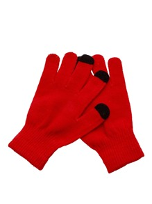 Red Knit Telefingers Gloves