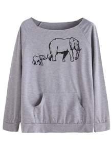 Grey Elephant Print Raglan Sleeve Pocket Sweatshirt