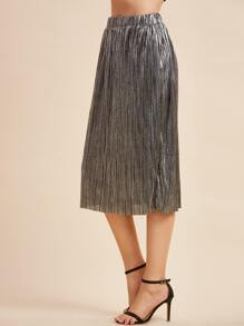 Metallic Grey Elastic Waist Pleated Straight Skirt