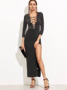 Black Lace Up Plunge Neck High Slit Sparkle Dress