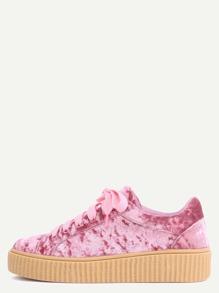 Faux Suede Platform Sneakers MAUVE