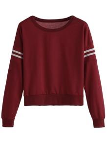 Burgundy Varsity Striped Crop Sweatshirt