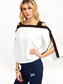 White Contrast Trim Cold Shoulder Top With Buckle Detail