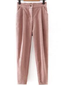 Pink Button Up Corduroy Haren Pants