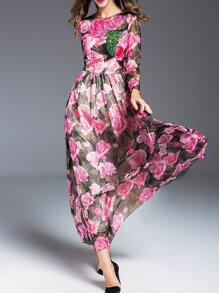 Black Sheer Flowers Print Maxi Dress