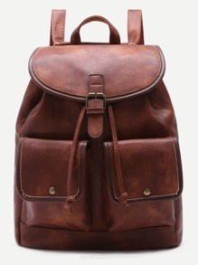 Coffee PU Double Pocket Drawstring Backpack
