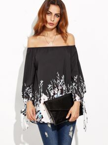 Black Flower Print Tie Sleeve Off The Shoulder Top