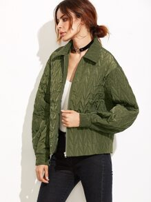 Olive Green Chevron Quilted Padded Jacket