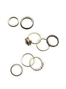 8PCS Antique Gold Rhinestone Ring Set