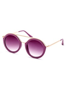 Purple Frame Gold Trim Double Bridge Sunglasses