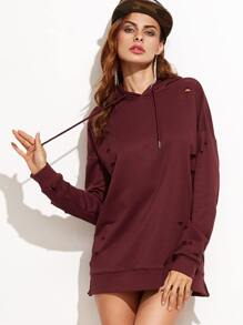 Burgundy Ripped Drop Shoulder Hooded Sweatshirt