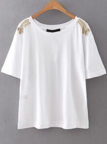 White Rope Embellished Shoulder T-Shirt