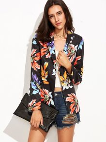 Flower Print Single Button Pockets Blazer