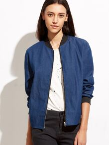 Blue Ribbed Trim Zip Up Chambray Bomber Jacket