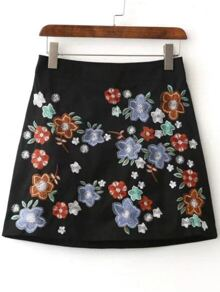 Black Floral Embroidery A Line Skirt