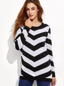 Black And White Chevron Pattern Buttoned Shoulder Sweater