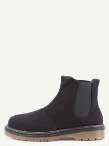 Black Faux Suede Elastic Rubber Soled Short Boots