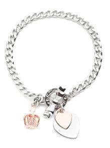 Silver Tone Heart Crown Charm Bracelet