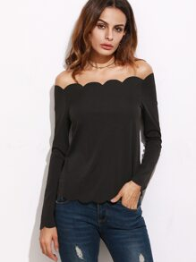 Black Off The Shoulder Scallop Top