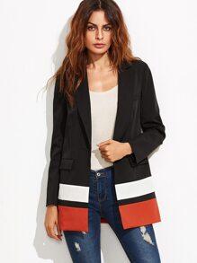 Black Single Button Pockets Blazer