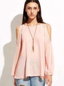 Pink Open Shoulder Raglan Sleeve Top