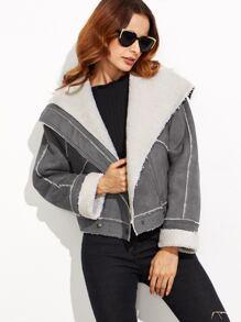 Grey Faux Shearling Asymmetric Zip Aviator Jacket