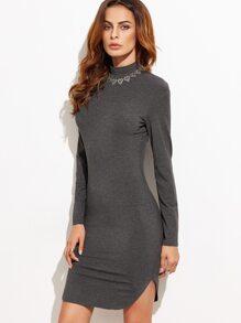 Heather Grey High Neck Curved Hem Bodycon Dress