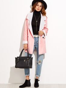 Pink Faux Shearling Double Breasted Coat