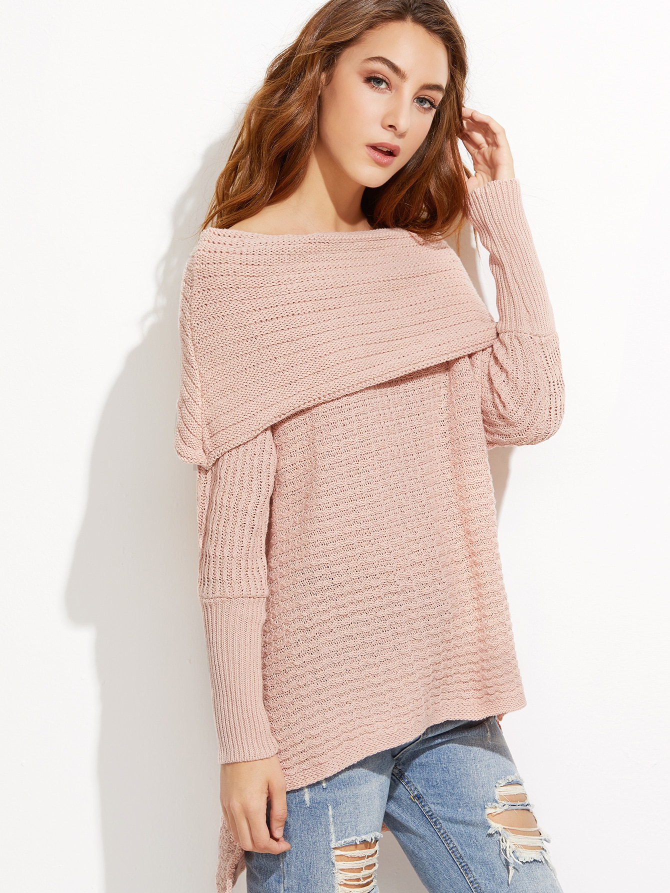 Pink Off The Shoulder High Low Foldover Sweater EmmaCloth-Women ...