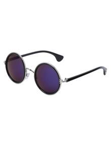 Gold Frame Round Blue Lens Retro Style Sunglasses
