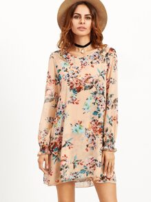 Pink Flower Print Shirred Cuff Tunic Dress
