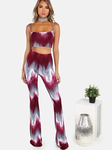 Spaghetti Strap Crop Top & Stretch Flare Pants BURGUNDY CHARCOAL