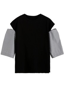 Black Open Shoulder Contrast Striped Sleeve T-shirt