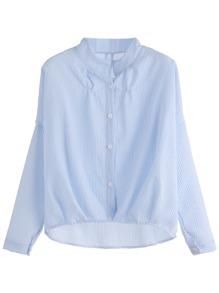 Blue Vertical Striped High Low Shirt