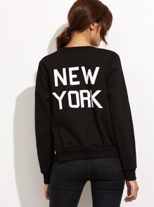 Black Letter Print Ribbed Trim Bomber Jacket