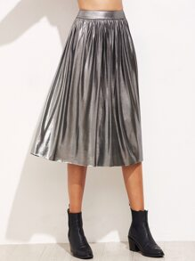 Silver Zipper Back Pleated Skirt