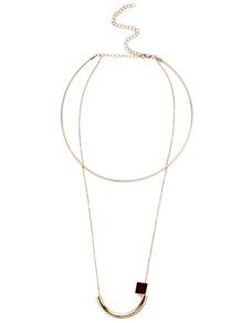 Gold Plated Geometric Pendant Choker Necklace