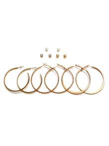 Gold Plated Rhinestone Hoop Earrings Set