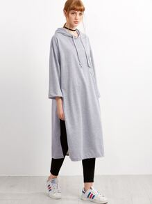 Grey Slit Side Hooded Long Sweatshirt
