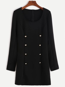 Black Double Breasted Zipper Back Sheath Dress