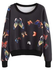 Black Contrast Trim Random Butterfly Print Sweatshirt